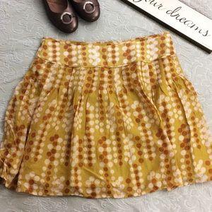 Fossil mustard dot skater skirt size 8
